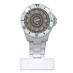 Celestial Pinwheel Of Pattern Texture And Abstract Shapes N Brown Plastic Nurses Watch by Nexatart