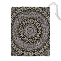 Celestial Pinwheel Of Pattern Texture And Abstract Shapes N Brown Drawstring Pouches (XXL) by Nexatart