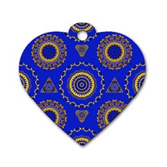 Abstract Mandala Seamless Pattern Dog Tag Heart (two Sides) by Nexatart