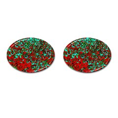 Red Turquoise Abstract Background Cufflinks (oval) by Nexatart