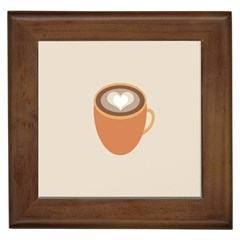 Artin Coffee Chocolate Brown Heart Love Framed Tiles by Mariart