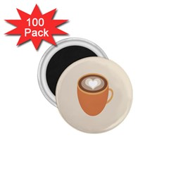 Artin Coffee Chocolate Brown Heart Love 1 75  Magnets (100 Pack)  by Mariart
