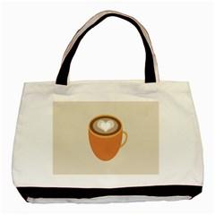 Artin Coffee Chocolate Brown Heart Love Basic Tote Bag by Mariart