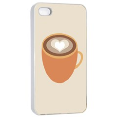 Artin Coffee Chocolate Brown Heart Love Apple Iphone 4/4s Seamless Case (white) by Mariart