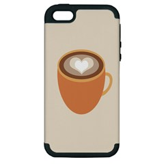 Artin Coffee Chocolate Brown Heart Love Apple Iphone 5 Hardshell Case (pc+silicone) by Mariart