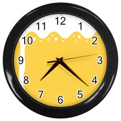 Beer Foam Yellow White Wall Clocks (black) by Mariart