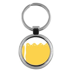 Beer Foam Yellow White Key Chains (Round)  by Mariart