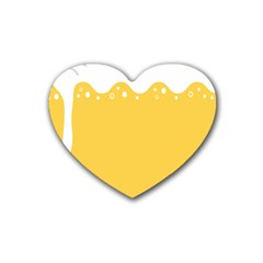 Beer Foam Yellow White Rubber Coaster (heart)  by Mariart