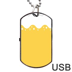 Beer Foam Yellow White Dog Tag Usb Flash (two Sides) by Mariart