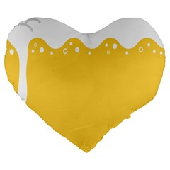 Beer Foam Yellow White Large 19  Premium Heart Shape Cushions by Mariart
