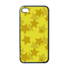 Yellow Star Apple Iphone 4 Case (black) by Mariart