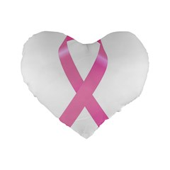 Breast Cancer Ribbon Pink Standard 16  Premium Flano Heart Shape Cushions by Mariart