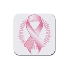 Breast Cancer Ribbon Pink Girl Women Rubber Square Coaster (4 Pack)  by Mariart