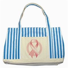 Breast Cancer Ribbon Pink Girl Women Striped Blue Tote Bag by Mariart