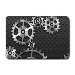 Chain Iron Polka Dot Black Silver Small Doormat  by Mariart