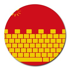 Firewall Bridge Signal Yellow Red Round Mousepads by Mariart