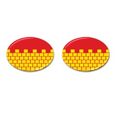 Firewall Bridge Signal Yellow Red Cufflinks (oval) by Mariart