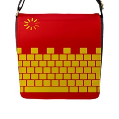Firewall Bridge Signal Yellow Red Flap Messenger Bag (l)  by Mariart