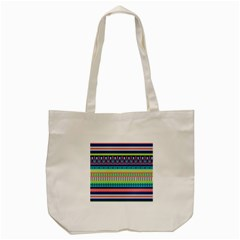 Aztec Triangle Chevron Wave Plaid Circle Color Rainbow Tote Bag (cream) by Mariart