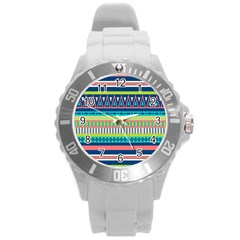 Aztec Triangle Chevron Wave Plaid Circle Color Rainbow Round Plastic Sport Watch (l) by Mariart