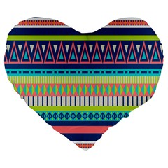 Aztec Triangle Chevron Wave Plaid Circle Color Rainbow Large 19  Premium Flano Heart Shape Cushions by Mariart