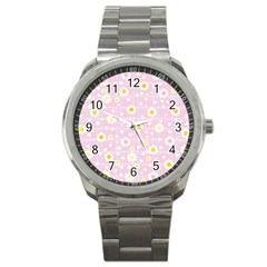 Flower Floral Sunflower Pink Yellow Sport Metal Watch by Mariart