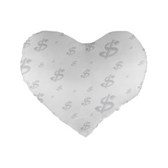 Dollar Sign Transparent Standard 16  Premium Heart Shape Cushions by Mariart