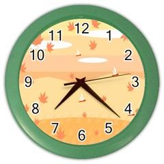 Dragonfly Leaf Orange Color Wall Clocks by Mariart