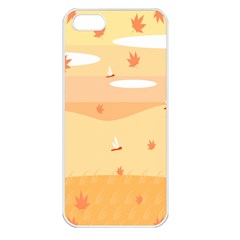 Dragonfly Leaf Orange Apple Iphone 5 Seamless Case (white) by Mariart