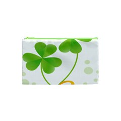 Flower Floralleaf Green Reboon Cosmetic Bag (xs) by Mariart