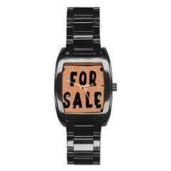 For Sale Sign Black Brown Stainless Steel Barrel Watch by Mariart