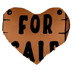 For Sale Sign Black Brown Large 19  Premium Flano Heart Shape Cushions by Mariart