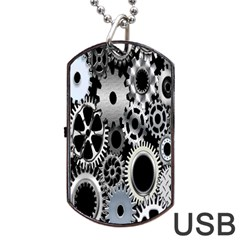 Gears Technology Steel Mechanical Chain Iron Dog Tag Usb Flash (two Sides) by Mariart