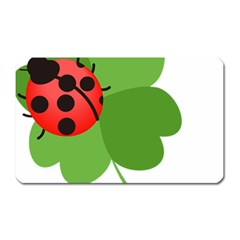 Insect Flower Floral Animals Green Red Magnet (rectangular) by Mariart