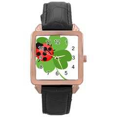 Insect Flower Floral Animals Green Red Rose Gold Leather Watch  by Mariart