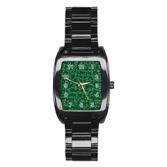 Formula Number Green Board Stainless Steel Barrel Watch by Mariart