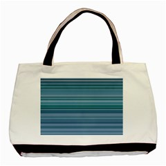 Horizontal Line Blue Basic Tote Bag (two Sides) by Mariart