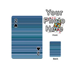 Horizontal Line Blue Playing Cards 54 (mini)  by Mariart