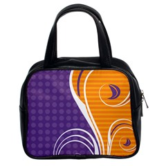 Leaf Polka Dot Purple Orange Classic Handbags (2 Sides) by Mariart