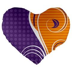 Leaf Polka Dot Purple Orange Large 19  Premium Heart Shape Cushions by Mariart