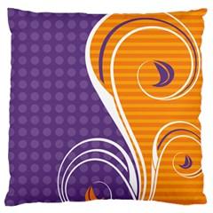 Leaf Polka Dot Purple Orange Large Flano Cushion Case (two Sides) by Mariart