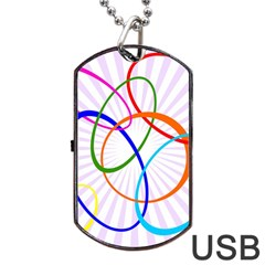 Abstract Background With Interlocking Oval Shapes Dog Tag Usb Flash (two Sides) by Nexatart
