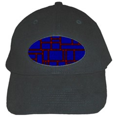 Line Plaid Red Blue Black Cap by Mariart