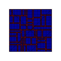 Line Plaid Red Blue Acrylic Tangram Puzzle (4  x 4 )