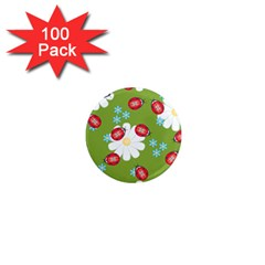 Insect Flower Floral Animals Star Green Red Sunflower 1  Mini Magnets (100 Pack)  by Mariart