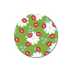 Insect Flower Floral Animals Star Green Red Sunflower Magnet 3  (round) by Mariart