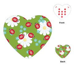 Insect Flower Floral Animals Star Green Red Sunflower Playing Cards (heart)  by Mariart