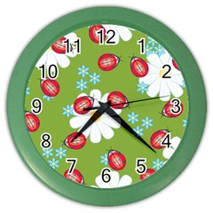 Insect Flower Floral Animals Star Green Red Sunflower Color Wall Clocks by Mariart