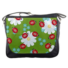 Insect Flower Floral Animals Star Green Red Sunflower Messenger Bags by Mariart