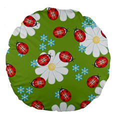Insect Flower Floral Animals Star Green Red Sunflower Large 18  Premium Round Cushions by Mariart